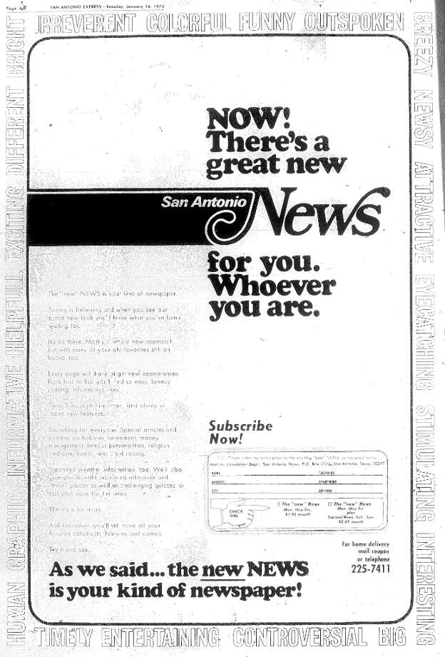 The last page of a four-page advertisement for the new News in the January 16, 1973, edition of the Express.