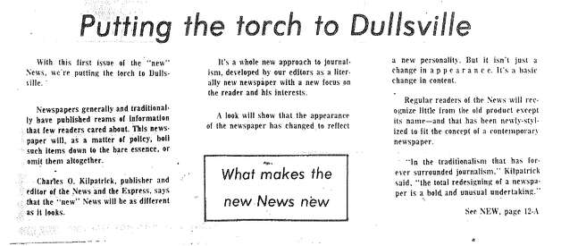 Headline from January 16, 1973, edition of the News: Putting the torch to Dullsville
