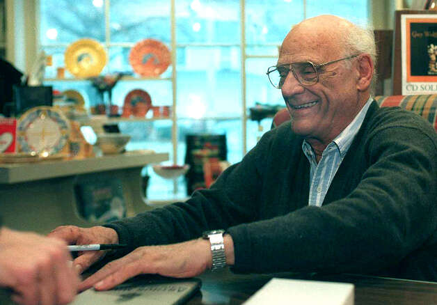 Noted author and playwright Arthur Miller, a Roxbury resident, signs books at the Hickory Stick book store in Washington Depot circa 2000. Mr. Miller died at the age of 89 in 2005.  Spectrum file photo Photo: Contributed Photo