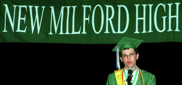 New Milford High School valedictorian Michael Silverman offers his perspective on the future during the June 21, 2003 commencement exercises at Western Connecticut State University in Danbury. Photo: Norm Cummings, Norm Cummings/Spectrum / The News-Times