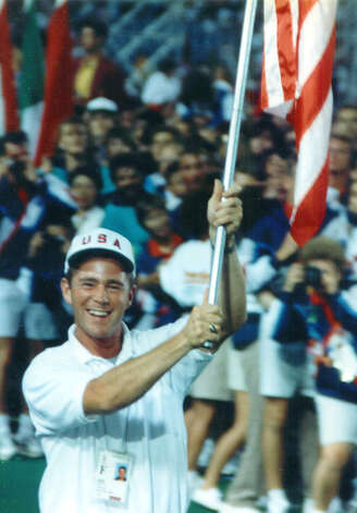 Stephen Reich of Washington, shown bearing the Stars and Stripes during the 1993 World University Games, died June 28, 2005 in Afghanistan whie piloting a helicopter rescue mission for the U.S. Army Special Forces. Major Reich was a 1989 graduate of Shepaug Valley High School and a 1993 graduate of the United States Military Academy at West Point.  Courtesy of the Reich family Photo: Contributed Photo, Courtesy Of The Reich Family / The News-Times Contributed