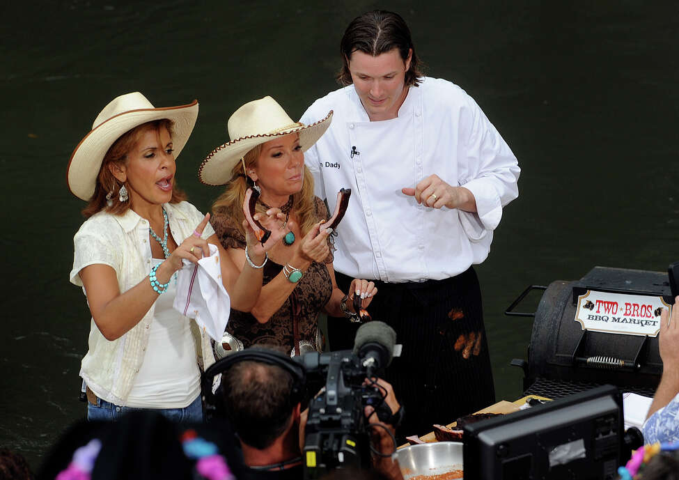 San Antonio chef and restaurateur Jason Dady (right) shares tasty ribs with Kathie Lee Gifford (middle) and Hoda Kotb during a segment of the Today show at the Arneson River Theater on July 29, 2009.