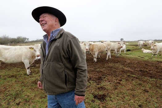 Paul Bordovsky, 90, smiles while recounting life before and after the Eagle Ford Shale play. He was on his ranch checking out his herd of charolais cattle a few miles east of Karnes City, Thursday, Feb. 7, 2013. The retired pharmacist and his wife, Emily, bought the 640 acres ranch in 1970 and sometime in 2009, Conoco-Phillips staked out a well on his ranch. Conoco-Phillips took more that a year to drilled and frack the first deep horizontal well in Karnes County. For the month of November 2012, the county ranked first for oil production in Texas with 3 million barrels. Photo: Jerry Lara, San Antonio Express-News / ©2013 San Antonio Express-News