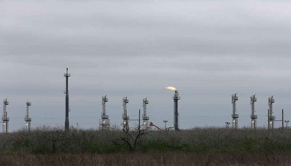 A gas processing plant in seen on former farmland off Texas Farm Road 81 in Karnes County, Texas, Tu