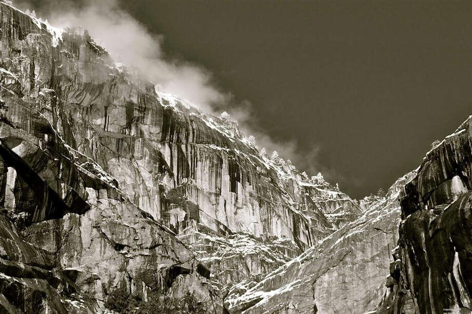 The north Yosemite rim in classic black-and-white