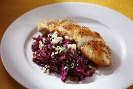 Red Cabbage, Walnuts & Goat Cheese in San Francisco, California on Thursday, February 20, 2013. Food styled by Lynne Bennett.