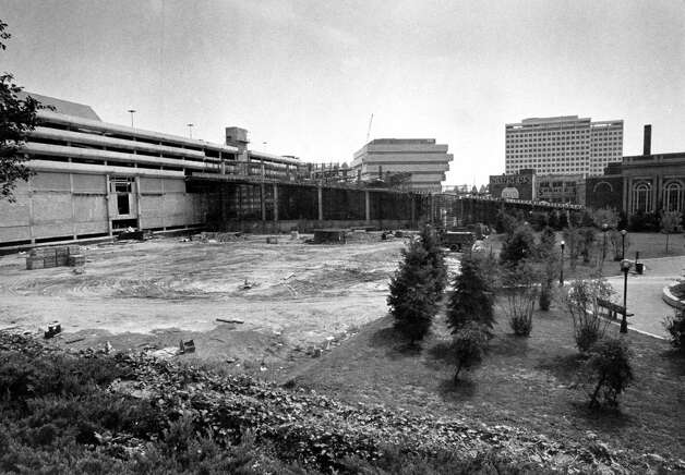 A photo from August 1981 show the construction site for Saks Fifth Avenue to being built as part of Stamford Town Center mall in Stamford, Conn. Photo: File Photo / Stamford Advocate File Photo
