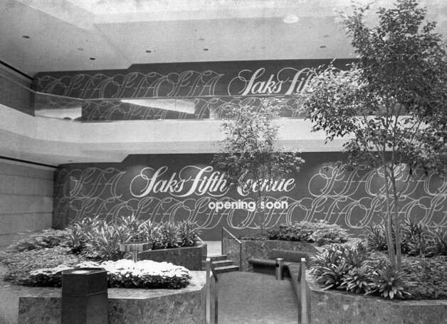 The signage inside the Stamford Town Center mall in August 1982, shows Saks Fifth Avenue opening soon. Photo: File Photo / Stamford Advocate File Photo