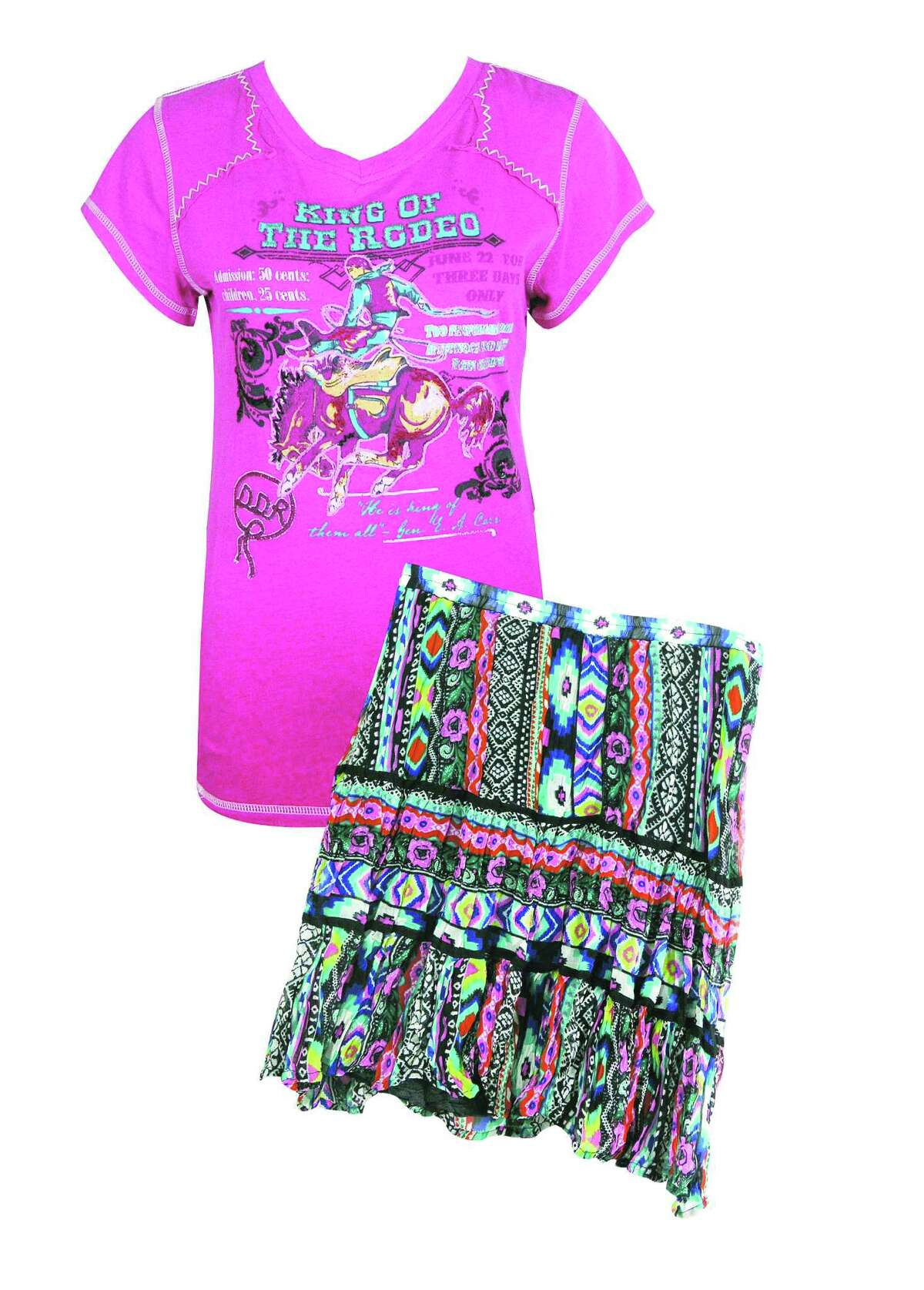 Left: Double D Ranch King of Rodeo Tee, $145; and Double D Ranch Aztec Skirt, $133; at Pinto Ranch