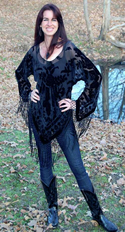 Pat Dahnke's Black Bias Top made from silk and Rayon burnout velvet on Country Western Singer Templeton Thompson in Nashville, $196. Available at designsbypat.com Photo: Pat Danke