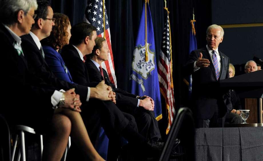 Vice President Joe Biden spoke at a conference on gun violence at Western Connecticut State University in Danbury, Conn., Thursday, Feb. 21, 2013. Photo: Carol Kaliff / The News-Times
