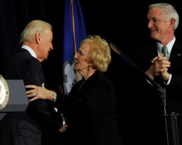 Vice President Joe Biden is thanked by Newtown First Selectman Pat Llodra after speaking at a conference on gun violence at Western Connecticut State University in Danbury, Conn., Thursday, Feb. 21, 2013. Right is Mayor Bill Finch, of Bridgeport, Conn. Photo: Carol Kaliff / The News-Times