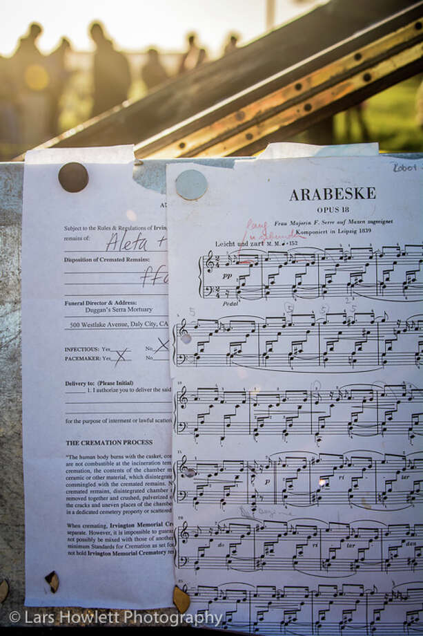 Robert Schumann's Arabeske was one of the pieces pianist Mauro Ffortissimo played nightly on the Sunset Piano in Half Moon Bay for the first two weeks of February. Tucked under the sheet music is a cremation permit for the piano, which was burned Sunday.