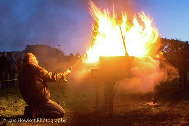 'It took a while for the piano to go up in flames,' he said. 'I actually at one point had to use a very powerful torch, the same that roofers use to melt tar.'
