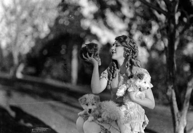 Canadian born Hollywood film star Mary Pickford in ringlets, with two small terrier dogs on her lap and a kitten in the palm of her hand, 1920. Photo: John Kobal Foundation, Getty Images / Moviepix