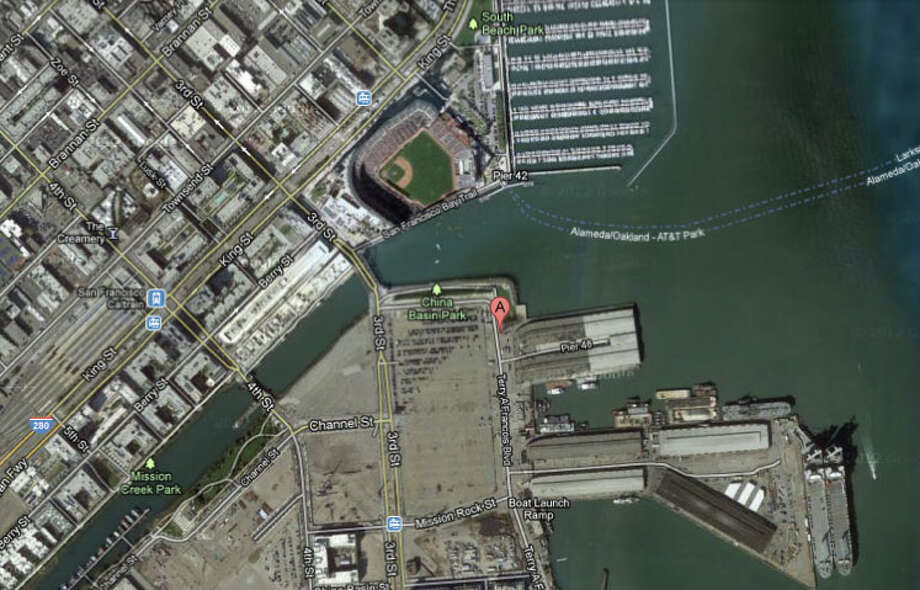 A body was found floating off of Pier 48 in China Basin. Photo: Google Maps