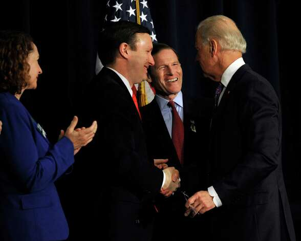 From left, Connecticut Congresswoman Elizabeth Esty, Senator Chris Murphy and Senator Richard Blumenthal, greet Vice President Joe Biden after he spoke at a conference on gun violence at Western Connecticut State University Thursday, Feb. 21, 2013. Photo: Carol Kaliff / The News-Times