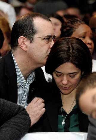 David and Francine Wheeler, parents of six-year-old son Ben, a victim of the Sandy Hook shootings, attend a conference on gun violence at Western Connecticut State University Thursday, Feb. 21, 2013. Photo: Carol Kaliff / The News-Times
