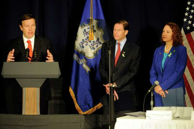 U.S. Sen. Chris Murphy, left, joined by U.S. Sen. Richard Blumenthal and Congresswoman Elizabeth Esty, address a conference on gun violence at Western Connecticut State University in Danbury, Conn.,  Thursday, Feb. 21, 2013. Photo: Carol Kaliff / The News-Times