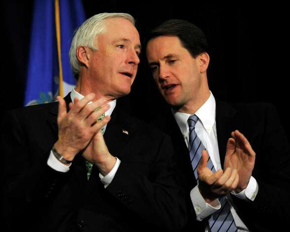 Bridgeport Mayor Bill Finch, and Congressman Jim Himes speak together at a conference to end gun violence at Western Connecticut State University Thursday, Feb. 21, 2013. Photo: Carol Kaliff / The News-Times