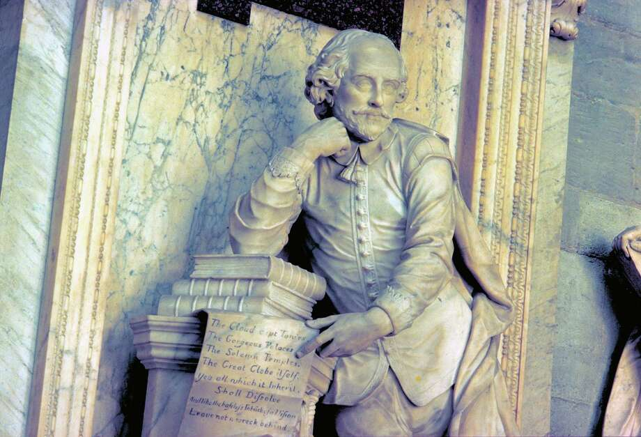 A monument at Poets' Corner at Westminster Abbey honors William Shakespeare. He isn't buried there, but many writers are, including Lord Alfred Tennyson, Robert Browning, Rudyard Kipling, Thomas Hardy and Charles Dickens. Photo: VisitBritain