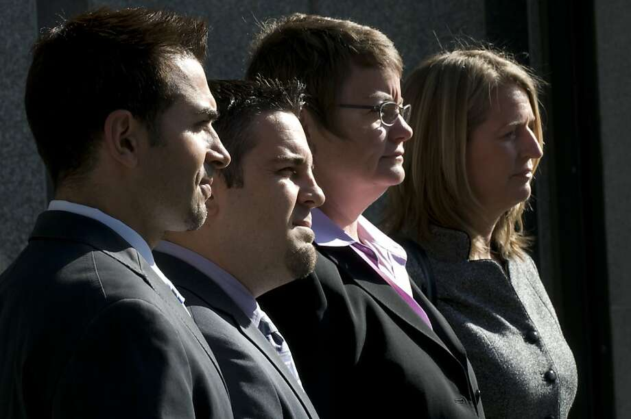 Paul Katami (left), Jeff Zarrillo, Kristin Perry and Sandy Stier attend closing arguments in the Proposition 8 case in federal court in 2010. Photo: Chad Ziemendorf, The Chronicle