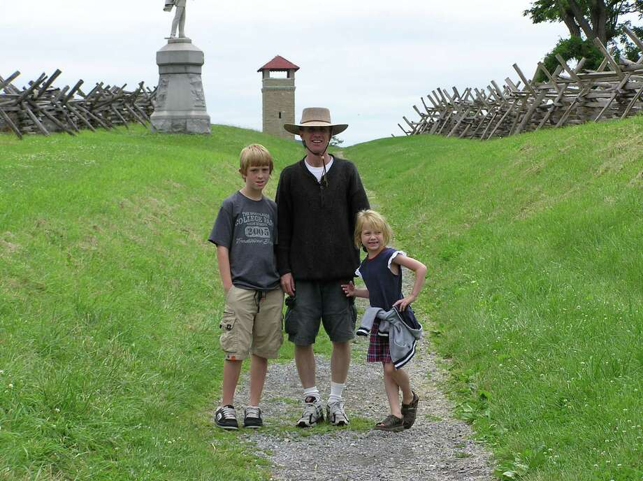 Craig Livingston is leading a series of courses on Civil War history at Lone Star College. He is seen here at Antietam with his children, Dakota and Romney.