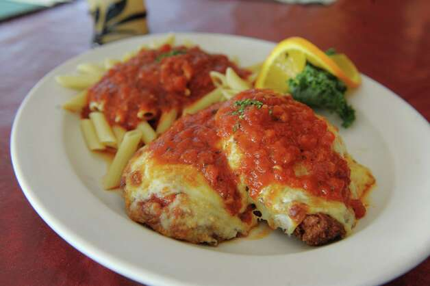 A view of the chicken parmesan dish at TJ's Cafe  on Monday, Feb. 18, 2013 in Albany, NY.   (Paul Buckowski / Times Union) Photo: Paul Buckowski  / 00021186A
