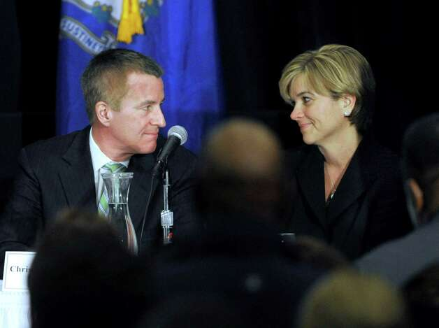 Chris and Lynn McDonnell, whose daughter Grace, was a victim of the Sandy Hook shootings, are part of a panel discussion at conference on gun violence at Western Connecticut State University, Thursday, Feb. 21, 2013. Photo: Carol Kaliff / The News-Times