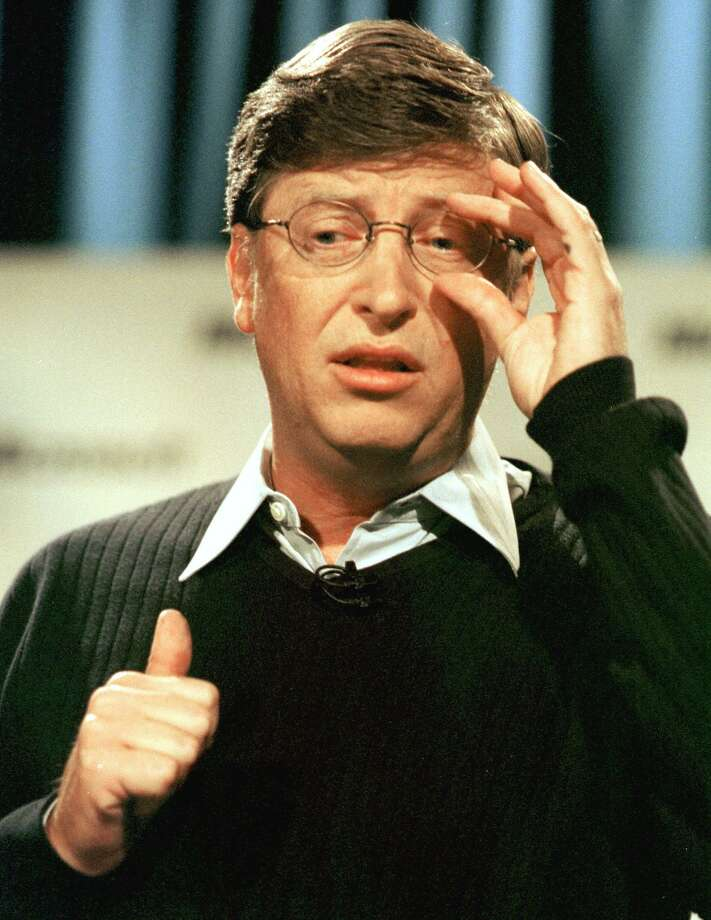Gates responds at a press conference in 2000 in Seattle to the Justice Department's decision that ruled the software giant had violated the Sherman Antitrust Act. Photo: DAN LEVINE, Getty / AFP