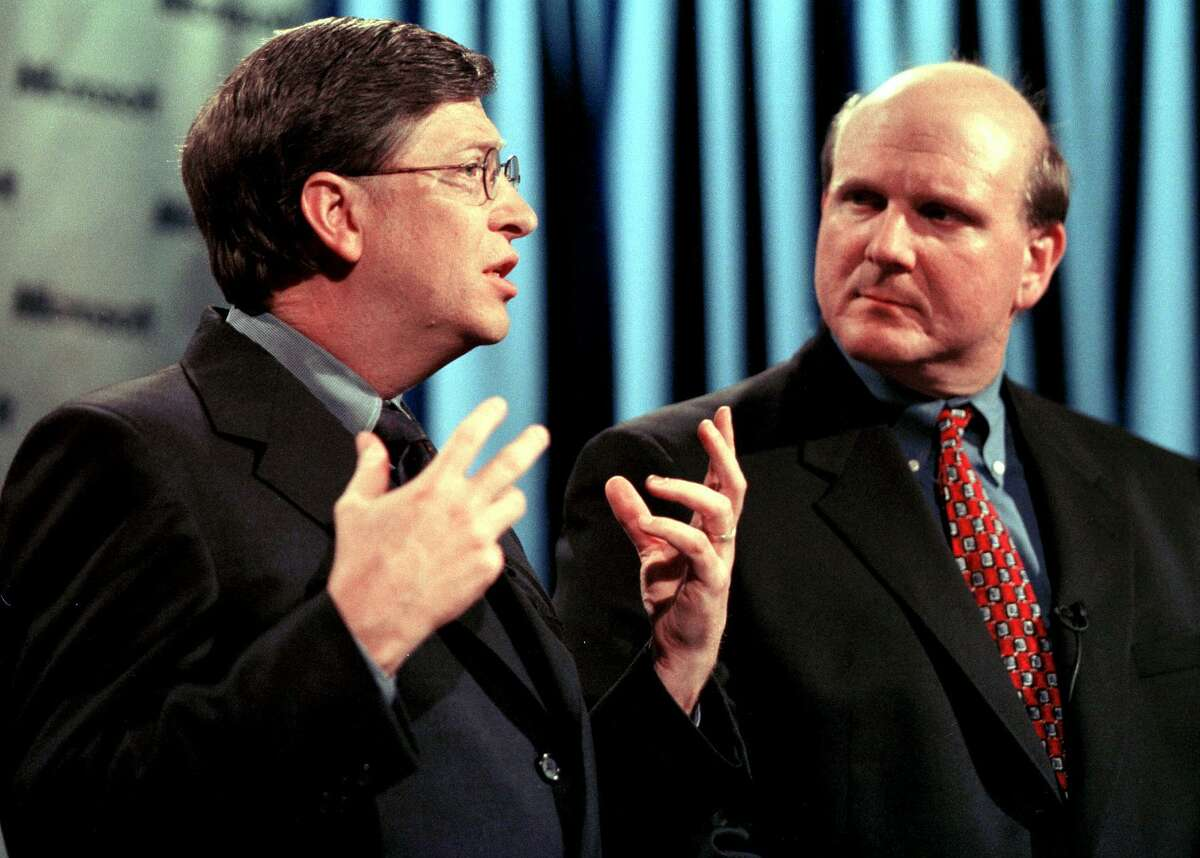 Bill Gates through the years Bil Gates and Steve Ballmer explain their company's position during a press conference in 2000 in Redmond regarding the US Justice Department's decision that ruled the software giant had violated the Sherman Antitrust Act. (AFP PHOTO/Dan LEVINE)