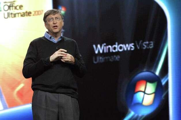 Bill Gates during Bill Gates Keynotes The Launch Of Microsoft Windows Vista Operating System in 2007 at Windows Vista Theatre in New York City. (Photo by Jason Kempin/FilmMagic) Photo: Jason Kempin, Getty / FilmMagic
