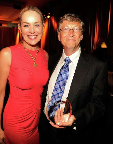 Actress Sharon Stone and honoree Bill Gates attend Together To End AIDS:  An Evening To Benefit amfA