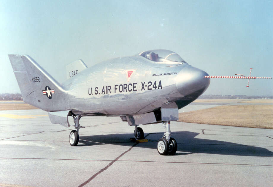 The Martin X-24A was used to test the feasibility of reentry of a manned aircraft from space. It made 28 flights, starting in 1970. It was carried aloft and released around 40,000 feet, fired rocket engines to reach 70,000 feet and then glided back to land in a dry lake bed. Photo: U.S. Air Force