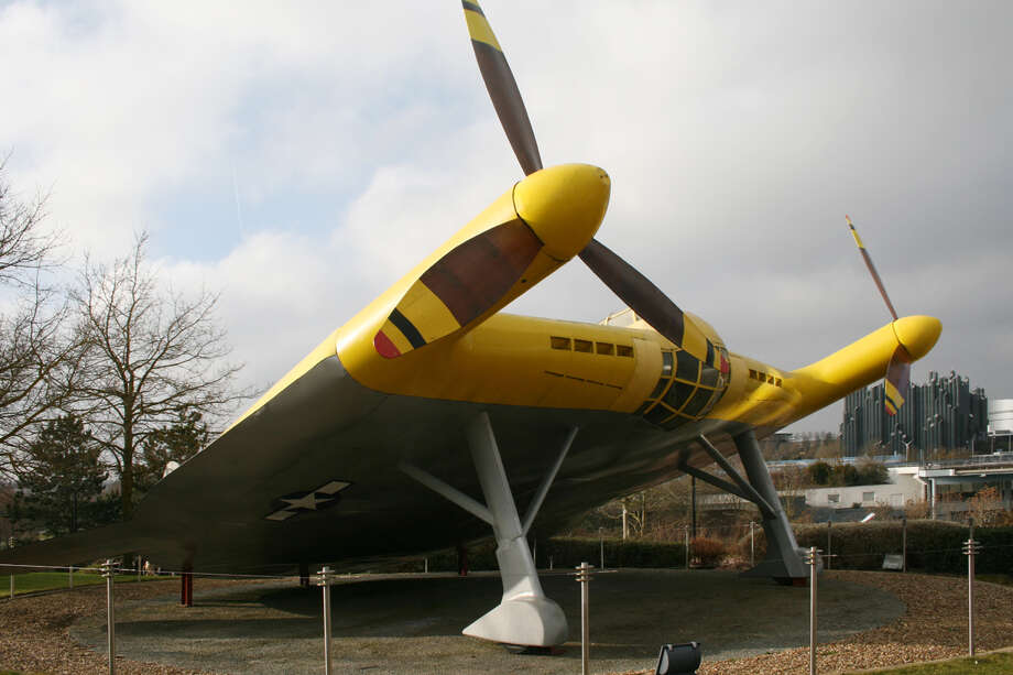 This Vought V-173 ended up on display in the Futuroscope theme park, in Vienne, France. Photo: Remi Jouan/Wikimedia Commons