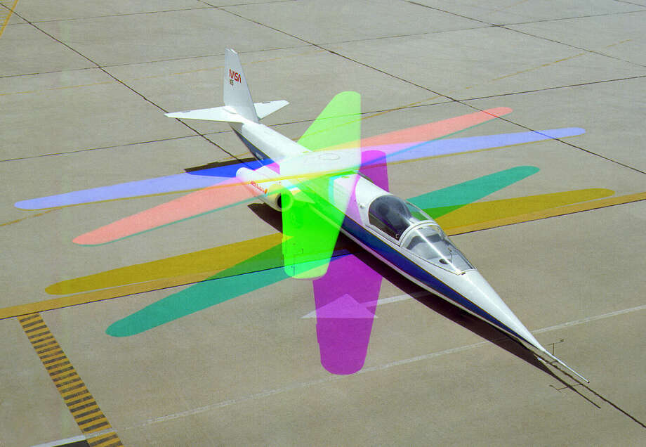 "According to NASA: ""Although the oblique wing is still considered a viable concept for large transports, the unpleasant flying characteristics of the AD-1 at extreme wing-sweep angles may have discouraged aircraft designers from adopting this configuration."" This multiple-exposure photograph shows different wing positions. Photo: NASA"