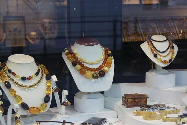 Amber items, left, are the specialty in the region of Pomerania. Photo: Susan Farewell