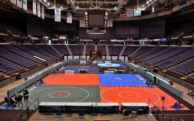 Wrestling mats fill the floor of the Times Union Center for this weekend's State wrestling tournament in Albany Thursday Feb. 21, 2013.  (John Carl D'Annibale / Times Union) Photo: John Carl D'Annibale / 00021269A