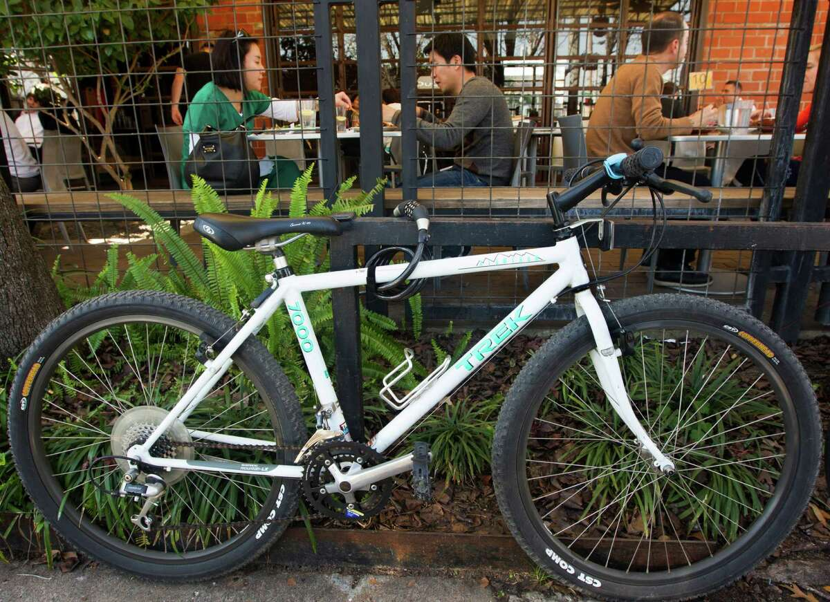 In some neighborhoods, small businesses lack enough parking. This cyclist solved that problem.