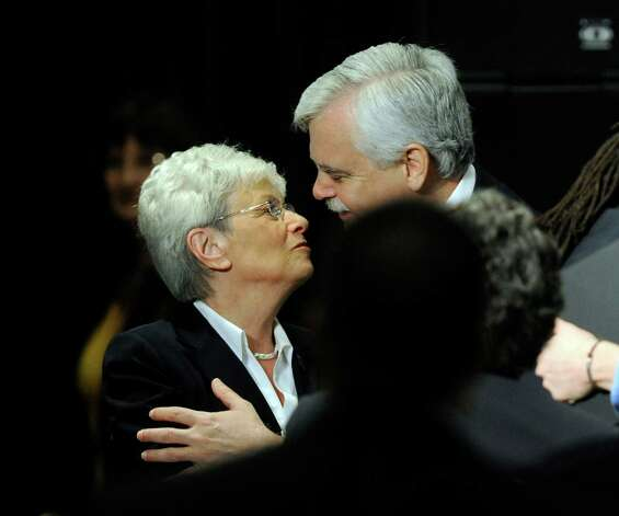 Lt. Gov. Nancy Wyman and State rep. Bob Godfrey greet each other at a conference on gun control at Western Connecticut State University in Danbury, Conn. , Thursday, Feb. 21, 2013. Photo: Carol Kaliff / The News-Times