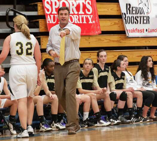 Trumbull high school girls basketball head coach Steve Tobitsch during the 2012-2013 FCIAC girls basketball championship game against Danbury high school played at Fairfield Ludlowe high school, Fairfield, CT on Thursday February 21st, 2013. Photo: Mark Conrad / Connecticut Post Freelance