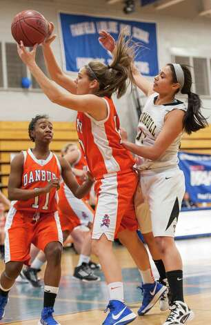 Danbury high school against Trumbull high school in the 2012-2013 FCIAC girls basketball championship played at Fairfield Ludlowe high school, Fairfield, CT on Thursday February 21st, 2013. Photo: Mark Conrad / Connecticut Post Freelance