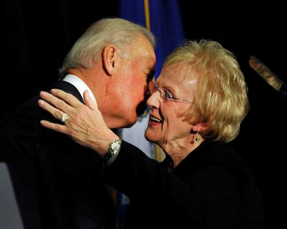 Vice President Joe Biden kisses Newtown First Selectman Pat Llodra after speaking at a conference on gun violence at Western Connecticut State University in Danbury, Conn., Thursday, Feb. 21, 2013. Photo: Carol Kaliff / The News-Times