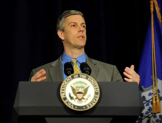Education Secretary Arne Duncan spaeks at conference on gun violence at Western Connecticut State University Thursday, Feb. 21, 2013. Photo: Carol Kaliff / The News-Times