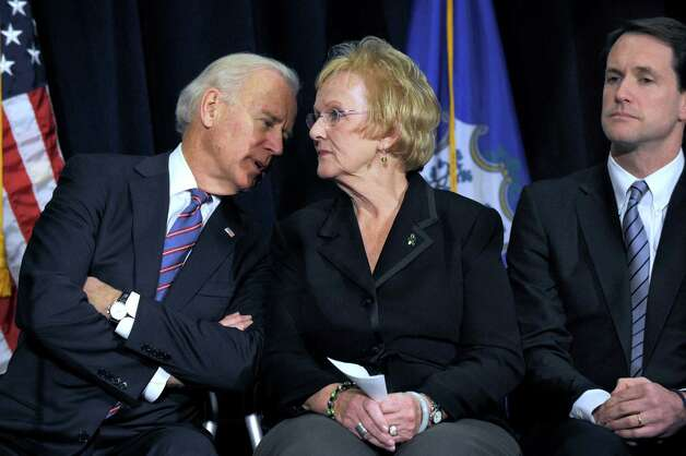 Vice President Joe Biden speaks with Newtown First Selectman Pat Llodra as they sit together on stage at a conference on gun violence at Western Connecticut State University in Danbury, Conn., Thursday, Feb. 21, 2013. Congressman Jim Himes is right. Photo: Carol Kaliff / The News-Times