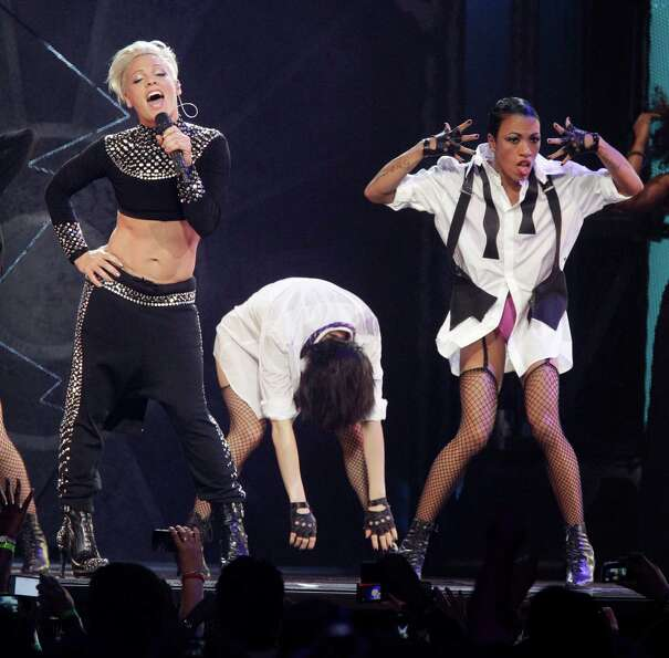 Singer Pink performs at the Toyota Center Thursday, Feb. 21, 2013, in Houston. ( Melissa Phillip / H
