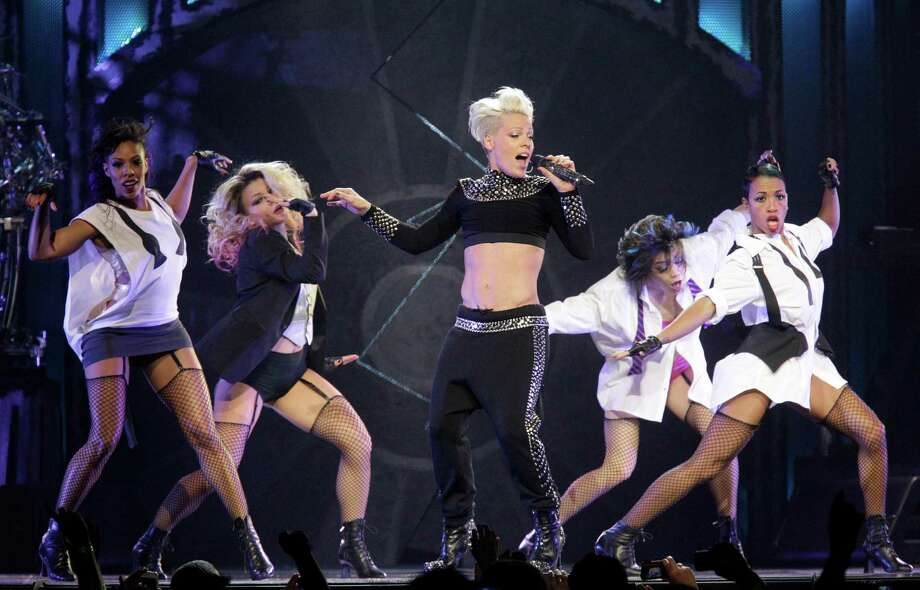 Singer Pink performs at the Toyota Center Thursday, Feb. 21, 2013, in Houston. ( Melissa Phillip / Houston Chronicle ) Photo: Melissa Phillip, Staff / © 2013  Houston Chronicle