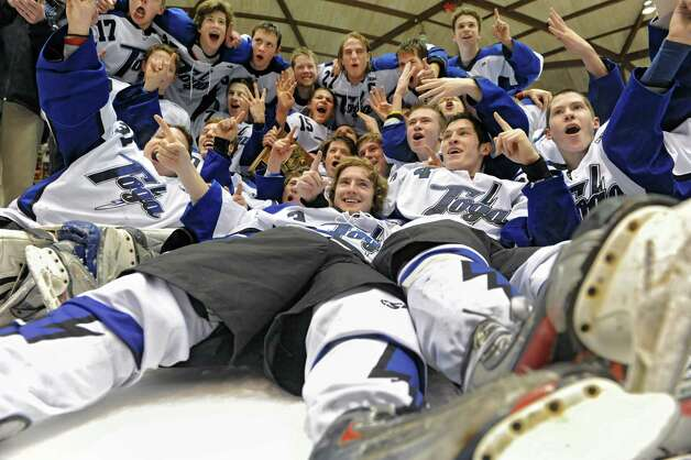 The Saratoga hockey team celebrates after defeating Shenendehowa in the section II division l hockey championship game at Union College on Thursday Feb. 21, 2013 in Schenectady, N.Y.  (Lori Van Buren / Times Union) Photo: Lori Van Buren