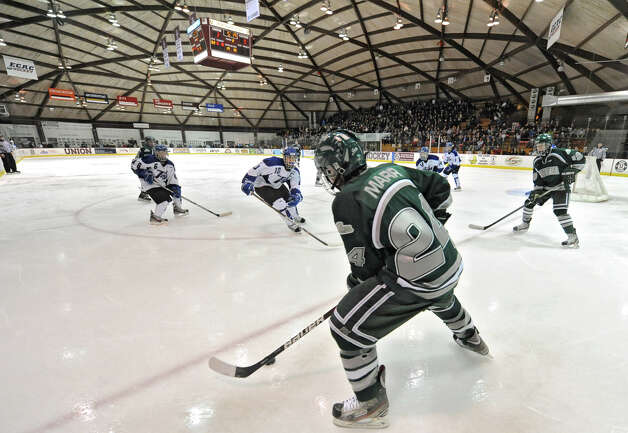 Shenendehowa's Kyle Marr looks to pass the puck during the section II division I hockey championship game against Saratoga at Union College on Thursday Feb. 21, 2013 in Schenectady, N.Y.  (Lori Van Buren / Times Union) Photo: Lori Van Buren