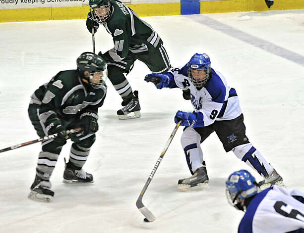 Saratoga's Chris Valenze takes the puck down the ice during the section II division I hockey championship game against Shenendehowa at Union College on Thursday Feb. 21, 2013 in Schenectady, N.Y.  Tyler was one of two players voted player of the year in the Capital District. (Lori Van Buren / Times Union) Photo: Lori Van Buren